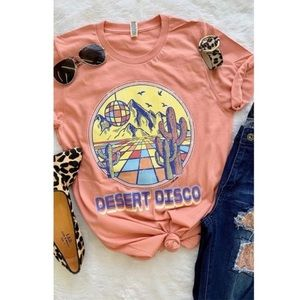New! Peachy Pink Desert Disco Graphic Tee relaxed
